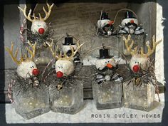 rudolph the raindeer snow man shaker ornaments by shadesofakasha, $13.95