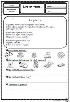 Petits textes pour travailler la lecture et la compréhension en CP, galette, janvier, recette,