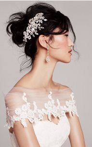 beautiful twist on a bridal bolero to cover a strapless gown