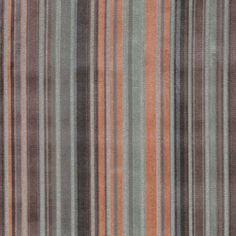 Gondolier Velvet Fabric A dazzling cut velvet fabric with narrow vertical stripes in coral, duck egg and brown on a grey ground.