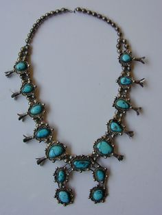 Vintage Navajo Squash Blossom Necklace – Turquoise & Handmade Silver – a Beauty