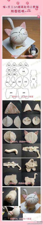 萌宠 手工DIY    Pattern (to be sized) and pictorial instructions.  Adorable!