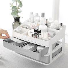 Makeup Shelves, Makeup Storage Drawers, Cosmetic Storage, Desk Storage, Storage Rack, Storage Boxes, Kitchen Storage, Diy Makeup Organizer, Organizer Box