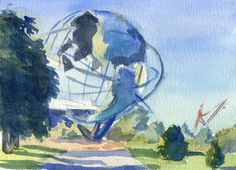 Unisphere - Flushing Meadows Corona Park, 5x7 in, Watercolor on Paper