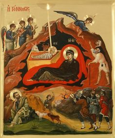 Byzantine Icon of the Nativity (Birth of Christ- Vatopedi Monastery, Mount… Byzantine Icons, Byzantine Art, Religious Icons, Religious Art, Spiritual Images, Russian Icons, Christian Symbols, Biblical Art, Best Icons
