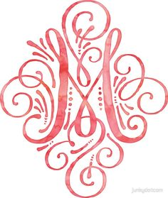 Monogram M Watercolor Typography by junkydotcom