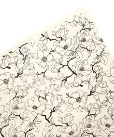 Black & Cream Magnolia Flower Wrapping Paper