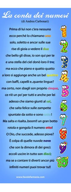 La conta dei numeri_Andrea Carbonari Italian Language, Learning Italian, 4 Kids, Children, Nursery Rhymes, Pre School, Kids And Parenting, Montessori, Einstein