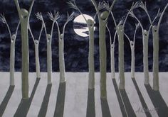 Tree People in The Moonlight Night Sky Painting by annarobertsart, $70.00