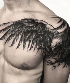 13 wild tattoo designs for the most daring men - Tattoo Style Cool Shoulder Tattoos, Cool Chest Tattoos, Mens Shoulder Tattoo, Eagle Shoulder Tattoo, Eagle Tattoos, Wolf Tattoos, Body Art Tattoos, Men Tattoos, Eagle Chest Tattoo