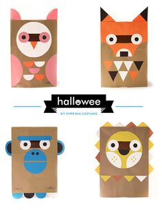I'm in love with these DIY Paper Bag Costumes - download the template for free from Wee Society!