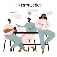 Group Of People Sitting At Table And Discussing Ideas, Exchanging Information, Solving Problems. Brainstorm Or Teamwork. People Illustration, Business Illustration, Manga Illustration, Character Illustration, Digital Illustration, Web Design, Flat Design, Graphic Design, Brainstorm