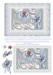 Blue Ribbon Love Bird Swans - Diamond Heart Lace & Pearls