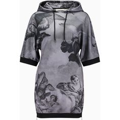 Moschino Angel Print Hooded Sweat Dress Black Grey ($680) ❤ liked on Polyvore featuring dresses and moschino