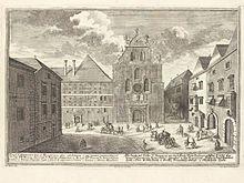 laimgrube wien   Franziskanerkirche und Kloster im Jahr 1724. Stich von Salomon Kleiner ...