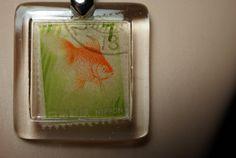 Vintage Japan Nippon Goldfish Stamp Pendant by JewelReMotion, $15.99