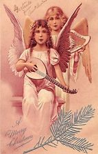 Christmas Greetings Angels Harp Guitar Lute PFB Antique Postcard (J20619)