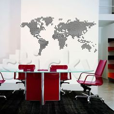 A modern looking world map decal for a wall. This one is made up of black dots - a nice minimal look for a simple room Wall Stickers World Map, World Map Decal, Map Globe, Travel Illustration, Cartography, Wall Murals, Canvas Prints, Simple, Room