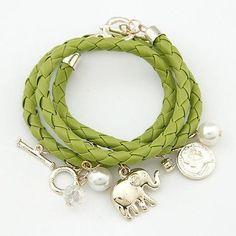 Bracelet - Charm Bracelets & Bangles PU Leather Jewelry Bijoux Elephant Pulseira Feminina Pulsera Mujer Femme