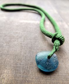 recycled glass and silk crochet necklace
