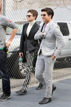 """Chris Colfer and Darren Criss on set for """"Glee"""" in Los Angeles on February 20, 2015."""