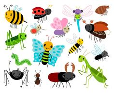 Vector cute insect collection, fly and ladybug, mantis and wasp, bug and beetle isolated on white background by StockSmartStart on Pencil Illustration, Graphic Illustration, Bug Cartoon, Doodle Images, Cute Cartoon Characters, Creative Sketches, Wasp, Business Card Logo, Watercolor And Ink