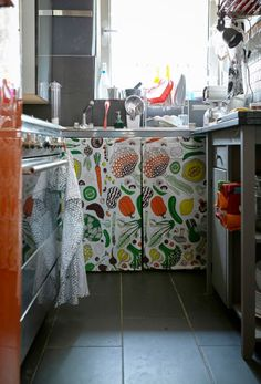 Hide the mess beneath the kitchen sink with colourful fabric doors | Fun #IKEAIDEAS for a small kitchen