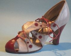 English red and grey leather sandal - c. 1934 - @~ Watsonette