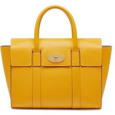 Mulberry Small Bayswater Bag (€1.005) ❤ liked on Polyvore featuring bags, handbags, shoulder bags, canary, yellow handbags, leather purses, mulberry purse, leather shoulder handbags and yellow leather purse