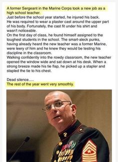 Former Sergeant in Marine Corps staples tie to his chest because of the toughest kids in school. Can confirm, I am the staple. - Imgur