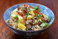 Asian Cauliflower Fried Rice | Replace bacon w/ chicken and forget most of the paleo components. :) less oil, no mushrooms.