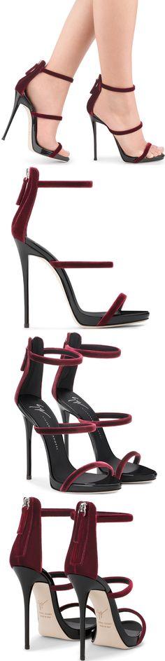 Burgundy velvet sandal with three straps from Giuseppe Zanotti