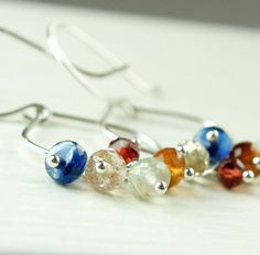 Multi Gemstone   Earrings   Colorful  Jewelry by Hildes on Etsy, $37.00