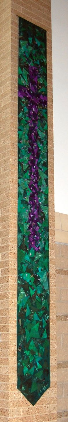 Ordinary time chancel banner, design and pattern by Laura Vlaming.  Created by Laura and the Banner Team, at Wildwood Presbyterian Church, Grayslake, IL.