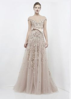 ZUHAIR MURAD READY TO WEAR  2012 2013 long dress gown heavily beaded embellished sheer silver nude neutral flowing