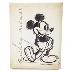 Tan Vintage Mickey Mouse Canvas Wall Art