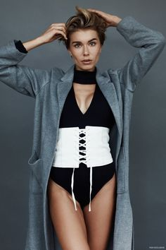 Zoe Hoad photographed by Connor Langford. Look -  Bodysuit Sir the Label, Corset Belt Glassons and Coat H&M