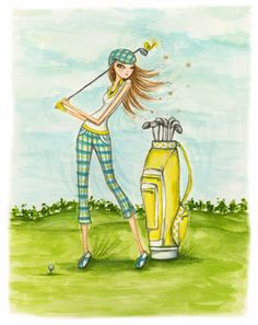 Birdie - Bella Pilar golf illustrations! #golf #lorisgolfshoppe