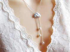 Cloud and Pearl Pendant Necklace Valentines Day by LeCharmeJewelry, $25.50