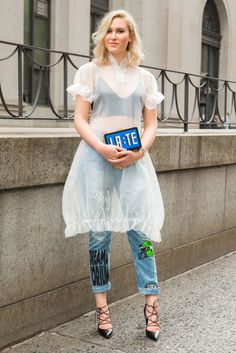 Get the NYFW Look: How to Wear a Dress Over Jeans - Cosmopolitan.com                                                                                                                                                                                 More