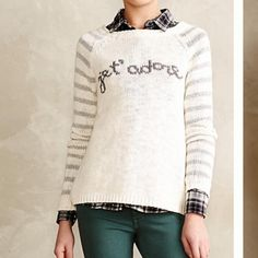 Anthropologie Je t'adore Cream Silver Sweater XS A cream with silver striped selves sweater from Anthropologie by the brand Moth. Size XS. Worn once. Just need to make room in my closet! First picture property of Anthropologie. Anthropologie Sweaters Crew & Scoop Necks