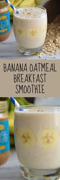 Banana oatmeal breakfast smoothie drinks and smoothies in 20 Protein Smoothies, Oatmeal Smoothies, Smoothie Drinks, Milk Smoothies, Smoothie Diet, Frozen Banana Smoothie, Vegetarian Smoothies, Vegetarian Recipes, Turmeric Smoothie