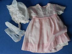 Old Antique Vintage BABY CLOTHES Lot, Dress,slip & Ruffled Bonnet Embroidery LOT