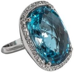 Chic Swiss Blue Faceted Topaz Faux Diamond Cocktail Ring