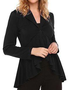 6043f33728f70 SALE PRICE -  13.99 - Unibelle Womens Casual Work Office Blazer  Asymmetrical Hem Cardigan Jacket Long