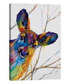 Look what I found on #zulily! Art by Leslie Franklin Oh Deer Wrapped Canvas #zulilyfinds Canvas Art Prints, Canvas Wall Art, Deer Decor, Silver Frames, Oh Deer, Traditional Decor, Dark Backgrounds, Warm Colors, Dark Wood