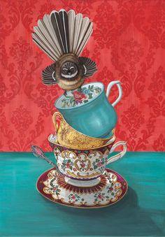 Angie Dennis - Contemporary New Zealand art for your home and business - Flora New Zealand Art, Nz Art, Kiwiana, Unusual Art, Whimsical Art, Limited Edition Prints, Bird Art, Medium Art, Artist At Work