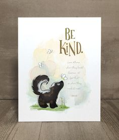 Items similar to Children's skunk art print, nursery art, kid character trait, compassion on Etsy Website Illustration, Cute Illustration, Skunk Tattoo, Skunk Drawing, What Can I Draw, Childrens Artwork, Card Sentiments, Line Drawing, Drawing Ideas