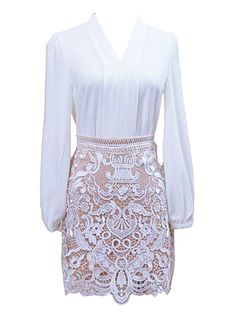 So Pretty! Love the White Lace Skirt! White V-neck Chiffon Shirt with Lace Skirt