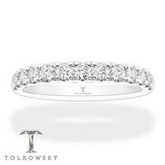Tolkowsky Wedding Band 5/8 ct tw Diamonds 14K White Gold Wedding Bands For Her, Diamond Wedding Bands, Diamond Girl, Kay Jewelers, I Love Jewelry, Perfect Match, Round Diamonds, White Gold, Bling